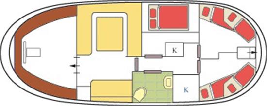 Plattbodenschiff Zephyrus - Kabinenaufteilung